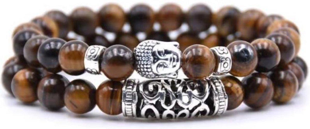 AWEMOZ  Natuursteen Boeddha Armbanden - Boedha Kralen Armbandjes - Buddha - Bruin - Armband Dames -