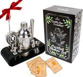 Cocktail Shaker Set - 12-delig - 750ml - Houder - Zilver/Zwart - Receptenboekje