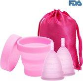 Compleet menstruatiecuppakket 2cups 1xS 1xL incl. gratis sterilisator