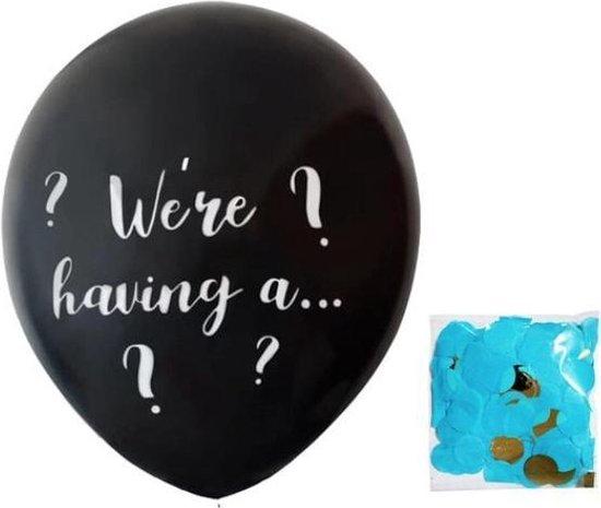 Gender reveal ballon blauw (doorsnede 91 cm !)