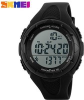 Skmei LED Sporthorloge - 3D Stappenteller - Digitaal - Alarm - Stopwatch - 50m - 5 ATM Waterdicht - Stopwatch - Zwart
