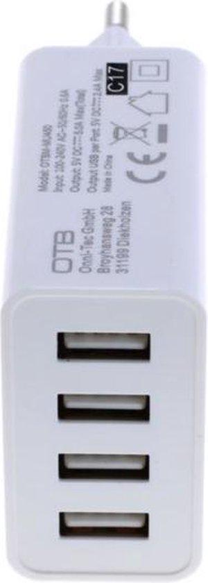 USB thuislader met 4 poorten - Smart IC - 5A / wit