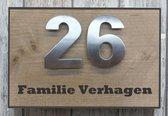 Naambordje voordeur steigerhout met antraciete rand. Met èchte RVS huisnummercijfers | houten naambord 30x20 cm