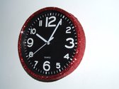 Glitter klok Rood/Zwart 30 cm