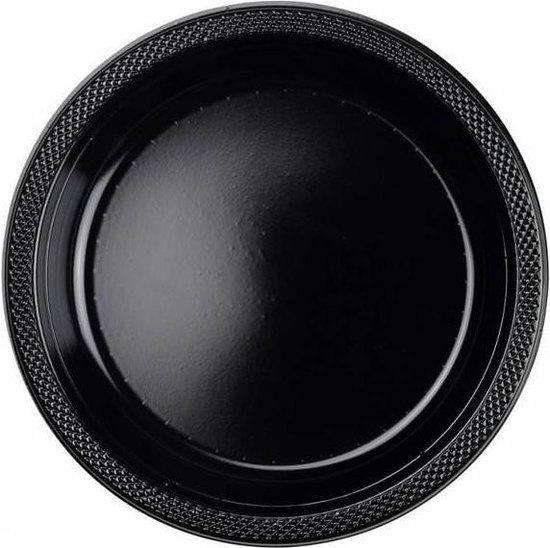 10 Plates Plastic Black 22.8 cm