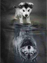 Diamond Painting Spiegelbeeld - 40 x 50 cm - Wolf