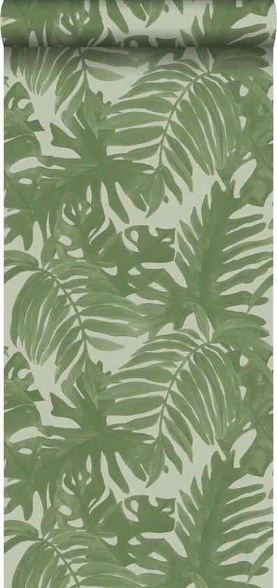 ESTAhome behangpapier tropische bladeren vergrijsd olijfgroen