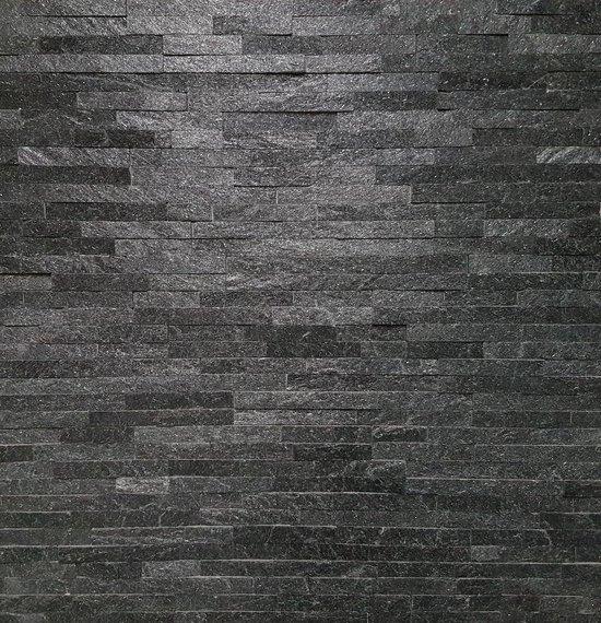 Linea Uno - Steenstrip Rensvik - Antraciet / Zwart- Echt natuursteen - Muurbekleding - Sierstrips - 512004