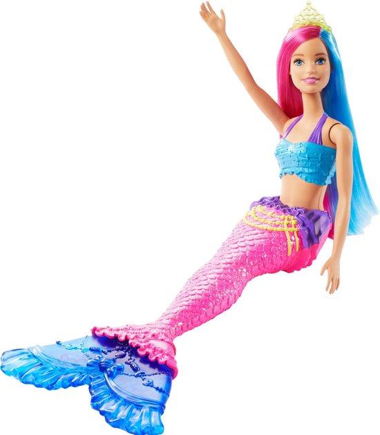 Barbie Dreamtopia Zeemeermin met roze en blauw haar - Barbiepop