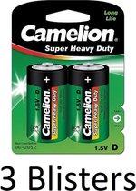 6 Stuks (3 Blisters a 2 st) Camelion Super Heavy Duty D Cell Batterijen