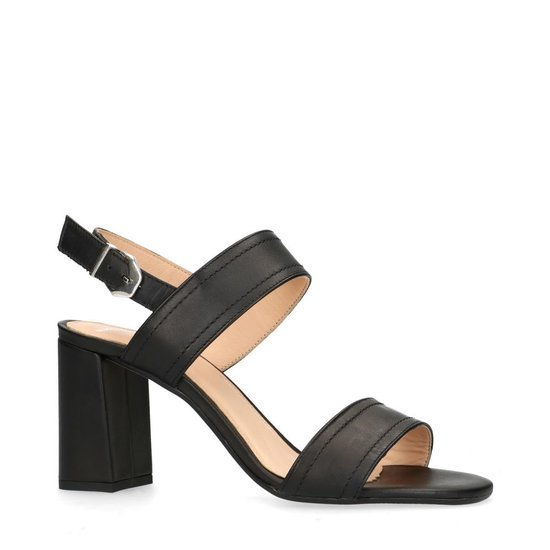 Manfield - Dames - Zwarte sandalen van leer met blokhak - Maat 37 jMNn5pa8