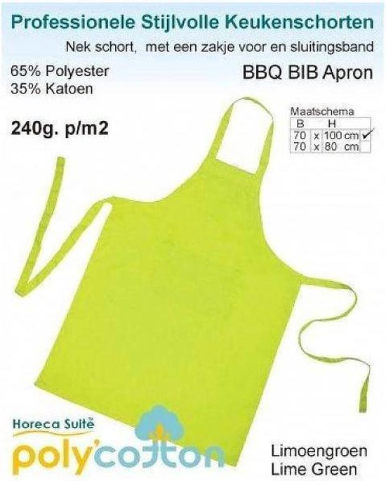 Homéé - Keukenschorten BBQ BIB Apron - Lemon groen 70x100 cm  - Leverbaar in: 70x100