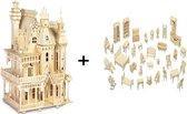 Bouwpakket Poppenhuis Villa Fantasia groot DIY Schaal 1:24, incl. Poppenhuismeubels- hout