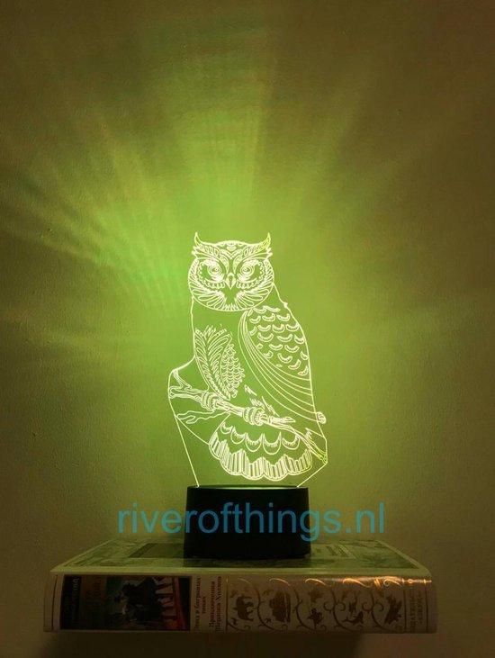 Nachtlampje uil, LED Nachtlamp tafellamp UIL, mooie 3d illusie lamp - 7 kleuren