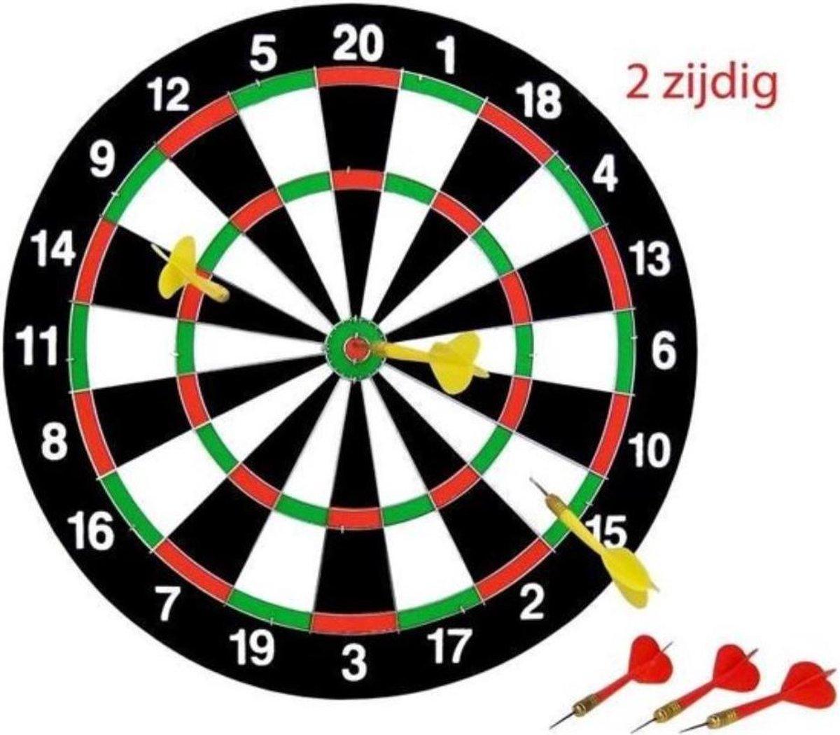 Dartspel 38 cm met ophanghaak en 3 x pijltjes geel en 3 x pijltjes rood