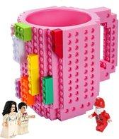 Lego Mok/ Build on Brick Mug - roze - 350 ml - bouw je eigen mok met bouwsteentjes - BPA vrije drinkbeker cadeau voor kinderen of volwassenen - koffie thee limonade of andere dranken - pennenbeker - creatief accessoire voor op bureau -HnD