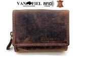 Lederen portemonnee RFID Van Fiel bruin