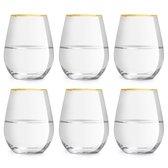 Libbey Waterglas Atlin - 35 cl / 350 ml - set van 6 - gouden rand - klassiek - feestelijk