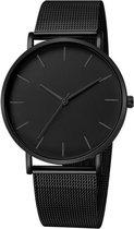 WiseGoods WS1204 - Luxe Quartz Horloge Heren - Minimalist Herenhorloge Ultradun - Lederen Horlogeband - Zwart