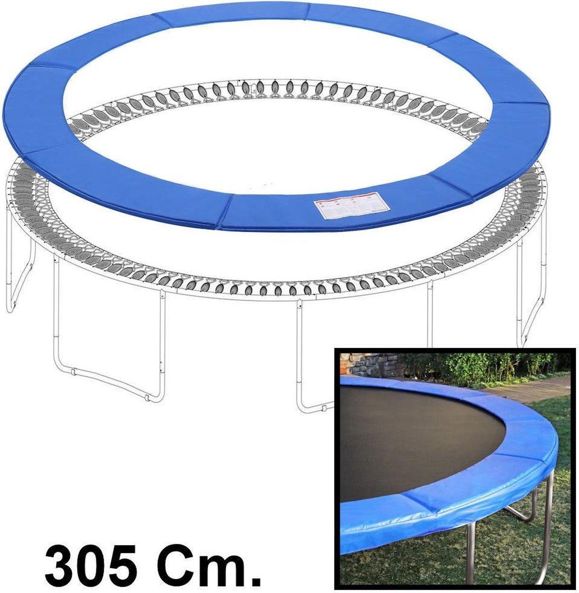 Sterke Trampolinerand 305 Cm diameter – Rond - Hoge kwaliteit beschermrand - Blauw - Trampoline rand afdekking universeel - Beschermrand voor Trampoli