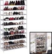 Decopatent® XXL Schoenenrek Voor 50 paar schoenen - 10 etage - Organizer voor schoenen opbergen - Opbergrek - Schoenenkast - Grijs