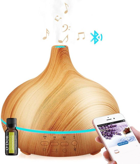 O'dor® Aroma 300 ml All-In-One Diffuser met EXTRA Bluetooth Speaker en Lemongrass Etherische Olie - Ultrasone Vernevelaar Bevochtiger Verdamper- Hout Look