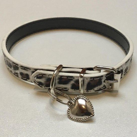 Honden Halsband - Leopard Print - M - Panter Print - PU leren Halsband - Luxory - Wit/Zilver