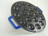 poffer pan - poffertjes pan -poffertjes plaat - inductie - gietijzer - blauw - poffertjesmaker - ze zijn weer op voorraad!