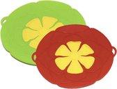 Siliconen kookbloem - anti-overkookdeksel - overkookbescherming anti-spatdeksel - hittebestendig 2 stuks ( Groen - Rood )