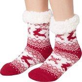 Dress for fun - Knusse sokken met rendiermotief rood-wit maat 43-46 – 303481