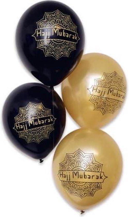 Ballonnen 'Hajj Mubarak' Zwart Goud - 5 stuks