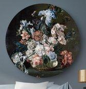 HIP ORGNL Stilleven met bloemen - Cornelia van der Mijn | rond schilderij | ronde oude meester | ⌀  80 cm | wanddecoratie