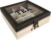 Theedoos vierkant - 9 vakjes voor thee - donkerBruin - L24xB24xH8cm