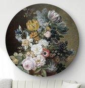 HIP ORGNL Stilleven met bloemen - Eelke Jelles Eelkema | rond schilderij | ronde oude meester | ⌀  100 cm | wanddecoratie