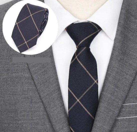 Geruite Stropdas | Donkerblauw - Beige - Camel - Zand | Das - Ruit | Bruidegom | Classic - Plaid | Bruiloft - Feest - Gala - Glamour - Gelegenheid - Event | Kerst - Feestdagen - Christmas | New Man Fashion | Chique - Zakelijk – Luxe | Handgemaakt