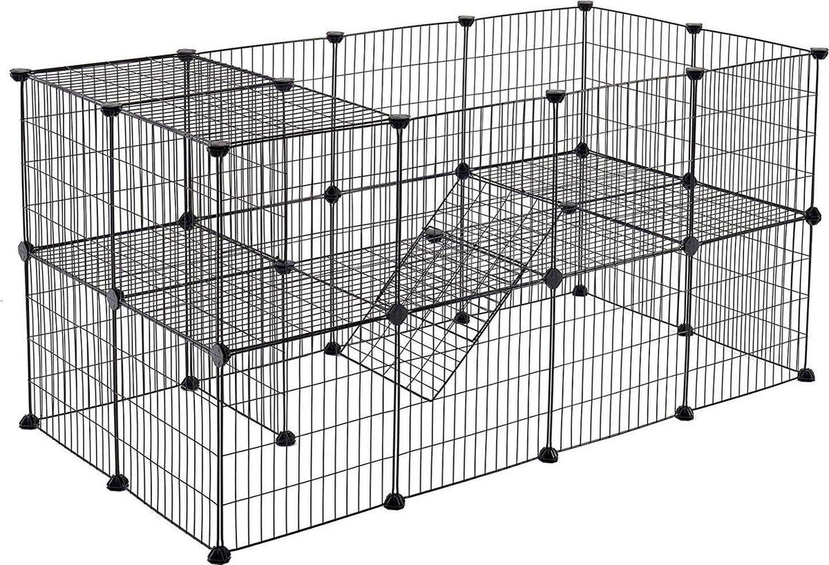 Hek voor Huisdieren - 2 Niveaus - Modulaire Ren voor Kleine Dieren (Cavia, Konijn, Ratje, Knaagdier)