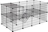 Hek voor Huisdieren - 2 Niveaus - Modulaire Ren voor Kleine Dieren (Cavia, Konijn, Ratje, Knaagdier) - 143 x 73 x 71 cm