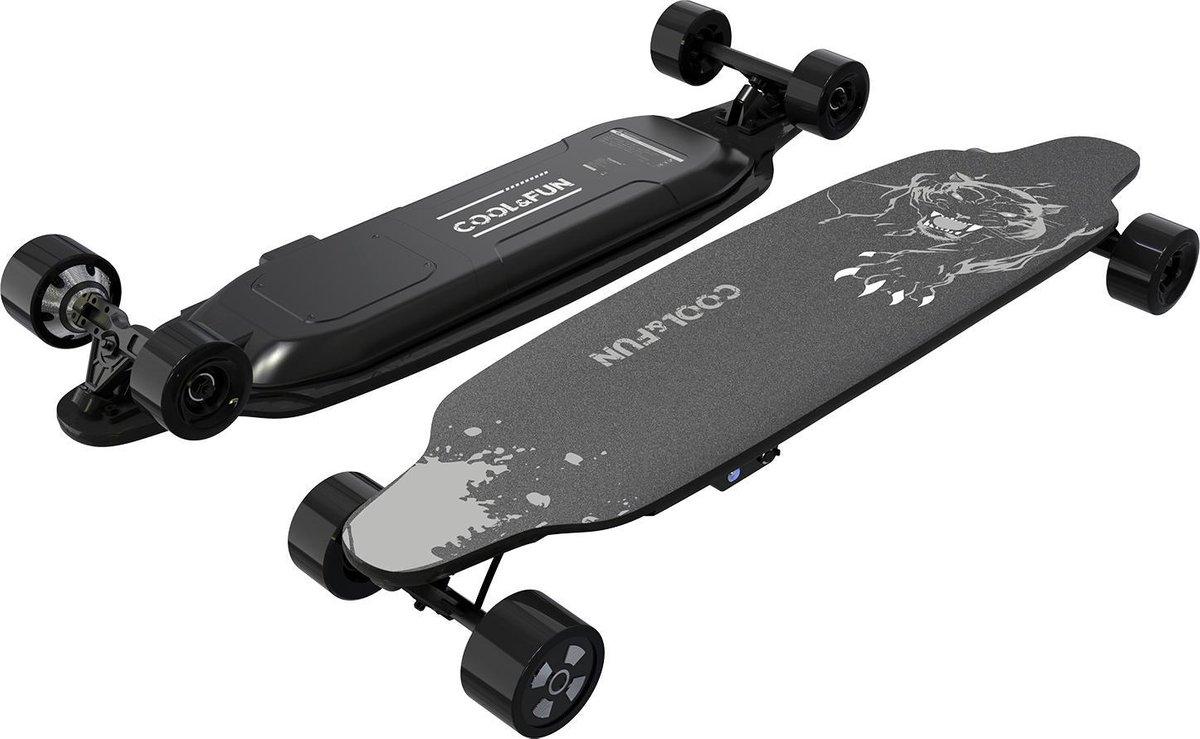 Cool&fun Elektrisch Longboard - 4-wiel Skateboard - Luipaard Zwart