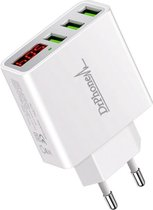 DrPhone - Thuislader 3 poorten USB-oplader - WIT - 2.4A Smart Fast Charge Lader met LED-display real-time status van stroom en spanning & ingebouwde smart chip Veilig Laden - Geschikt voor Apple iPhone / Samsung