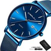 CRRJU® Horloges voor Mannen Vrouwen Herenhorloge Dameshorloge Heren Dames – Horloge Watch Jongens Meisjes – Horlogebox Geschenkdoos – Blauw Zilver