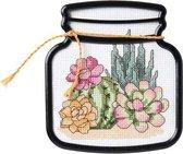 Bucilla Kruissteekpakket Cactussen Terrarium 12x13,3 cm