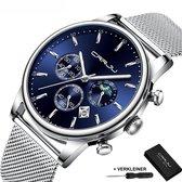 CRRJU® Horloges voor Mannen Herenhorloge Jongens Heren Watch Horloge – Horlogebox Geschenkdoos – Zilver Blauw