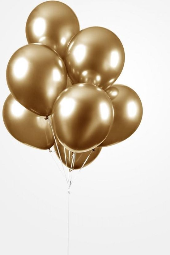 Luxe Chrome Ballonnen 30cm Goud 25 Stuks - Heliumballonnen voordeelset Metallic Gold Feestje- Verjaardag- Party