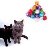 Make Me Purr Glitter Pompon Ballen (10 stuks) - Kattenspeeltjes - Kattenspeelgoed - Speelgoed voor Katten - Kat Speeltje Bal - Kitten Speeltjes Balletjes