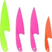 Kindermessen 4 stuks – Messenset voor kinderen – 4-delig – Kindvriendelijke messen – Kinderkoksmes – Veiligheidsmessen – Kindermes – Mes voor kinderen – Gekleurde messenset voor kinderen