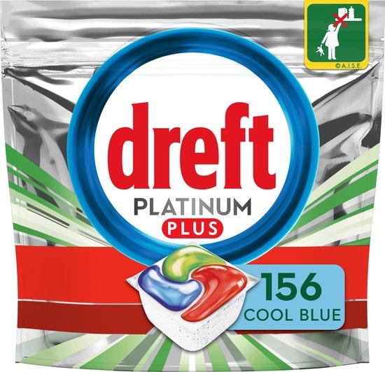 Dreft Platinum Plus All In One Cool Blue - Voordeelverpakking 4x39 stuks - Vaatwastabletten