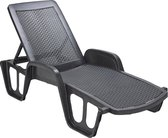 MaxxGarden ligbed - zwembad ligstoel - stapelbaar - Zwart - 192 x 100 x 71 cm