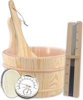 BrellaVio® Complete Sauna Accessoires Set - Emmer, Lepel, Zandloper, Thermometer en Loofah Spons - Houten Sauna Producten