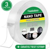 QuickDays®️ Dubbelzijdige Nano Tape met Gratis Test Strip! - Griptape – Gekko tape - Magic tape - Herbruikbaar en Waterproof – 3 Meter