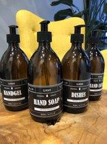 "Zeepdispenser | Zeeppompje |""Soap"" | Glas | 500 ml | Zwart vintage label | Fles Bruin | Plastic Pomp zwart"